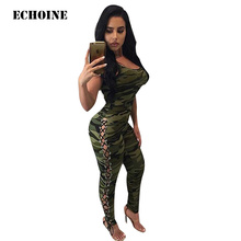 Echoine Camouflage Sleeveless Bodycon Spaghetti Strap Jumpsuit Sexy Female Club Outfit Romper Overall Camo Playsuit