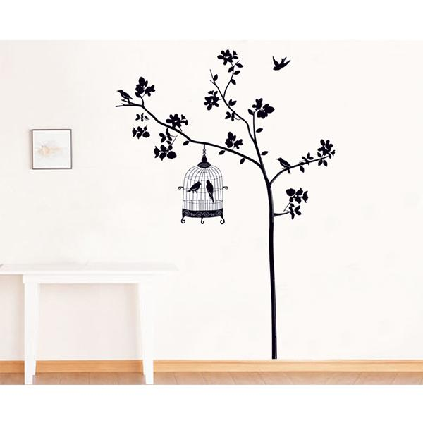 1pcs Family Picture Photo Bird cages hang the tree DIY home Wall stickers Decals/Adhesive Wall Stickers Mural Art Decor