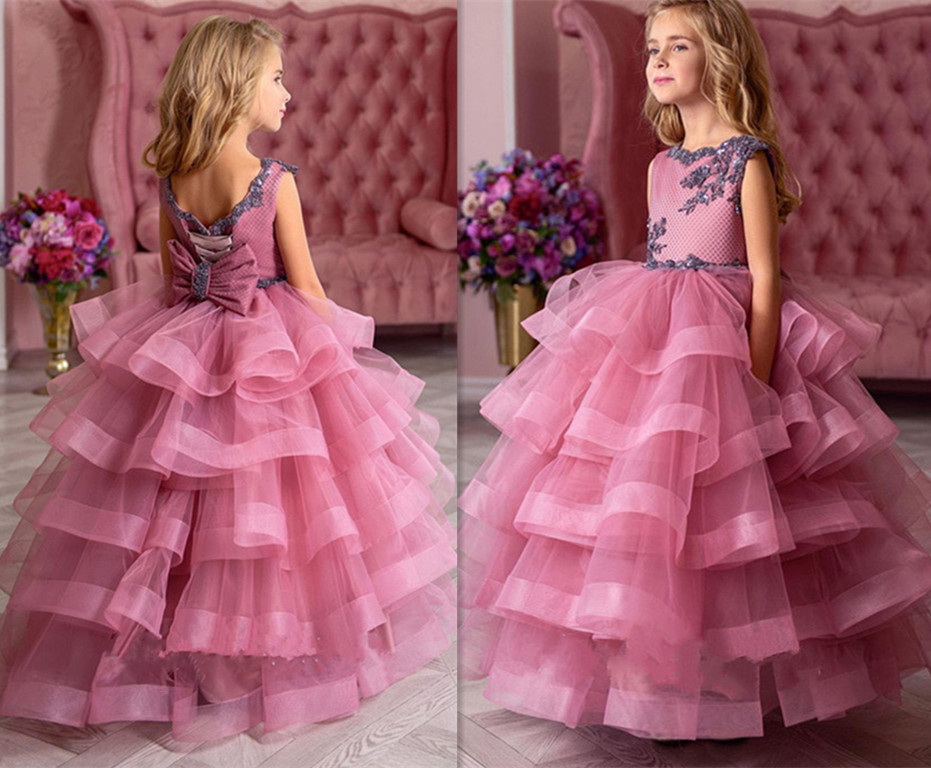 New Arrival Tulle Flower Girls Dresses for Wedding Customized Ball Gown For 2-14 Y Princess New Girls Pageant Gowns Tiered LongoNew Arrival Tulle Flower Girls Dresses for Wedding Customized Ball Gown For 2-14 Y Princess New Girls Pageant Gowns Tiered Longo
