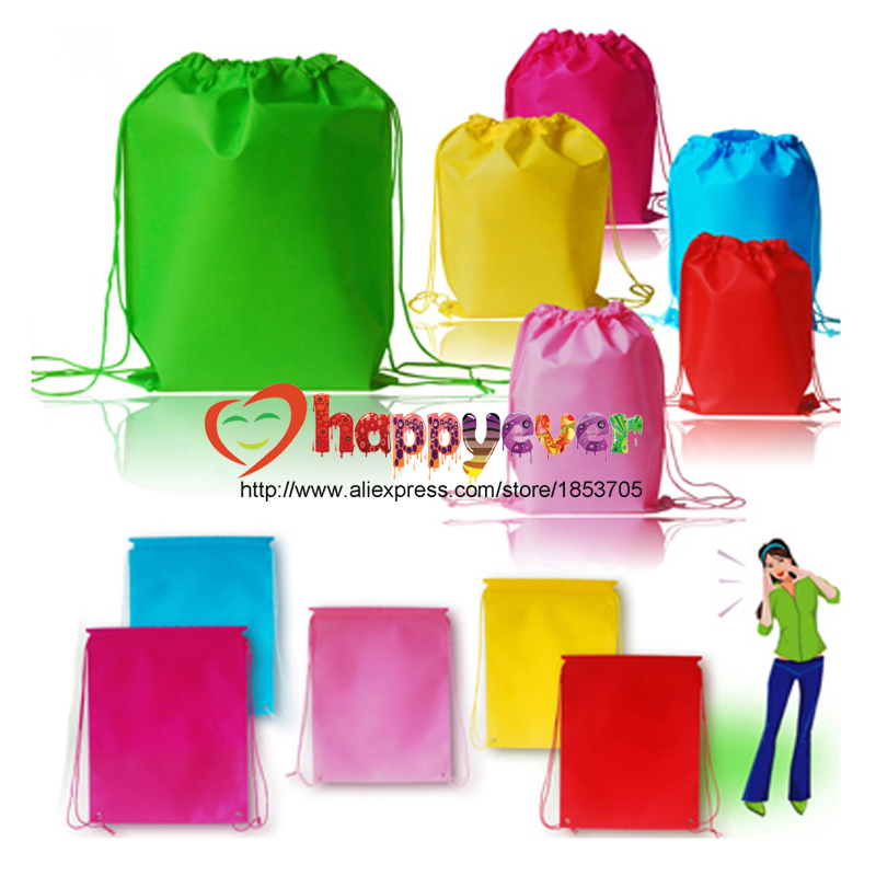 6PCS Colorful Non Woven Reusable Kids Backpack Goodie Bag