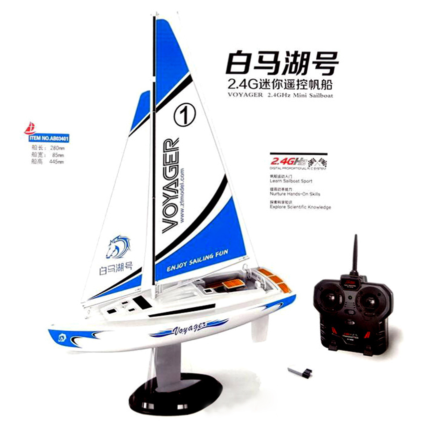 Penghantaran percuma Voyager 2.4G Mini RC Sailboat Sailing Electric ship Model Yacht Handmade Boat Toys Toys Children Gift