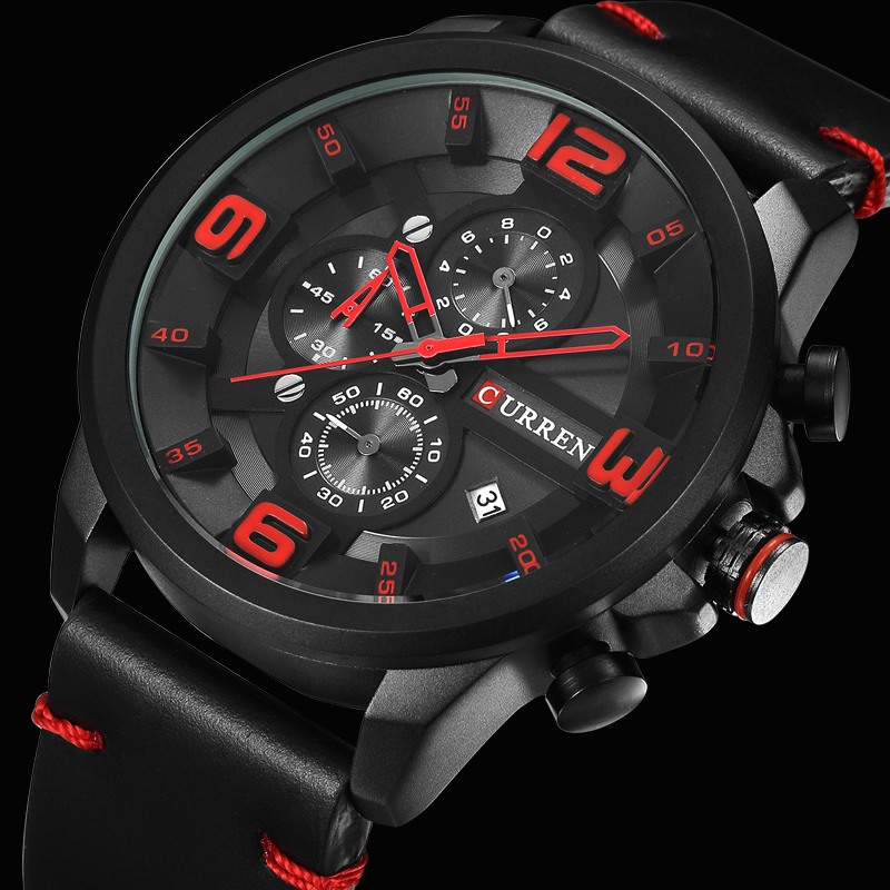 CURREN New Chronograph Black Men Watches Luxury Fashion Sports Male Wrist Watch Leather Strap Calendar Casual Business Clock
