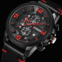 CURREN New Chronograph Black Men Watches Luxury Fashion Sports Male Wri