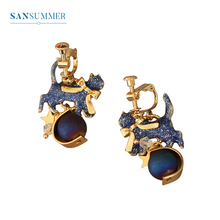 Sansummer 2019 New Hot Fashion Blue Cat Exquisite Statement Girl Charm Clip Earrings For Women Pendant Cartoon Jewelry  5465