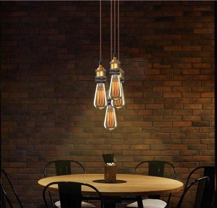 Vintage lighting chandelier Edison Retro Pendant Lamp Holder With Wire  AC 110-220V Chandelier E27