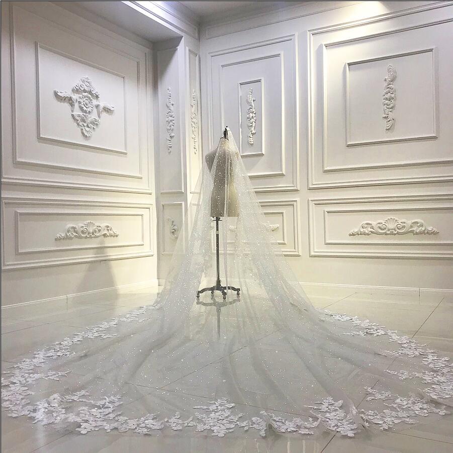 Luxury long train wedding veil long bridal veil