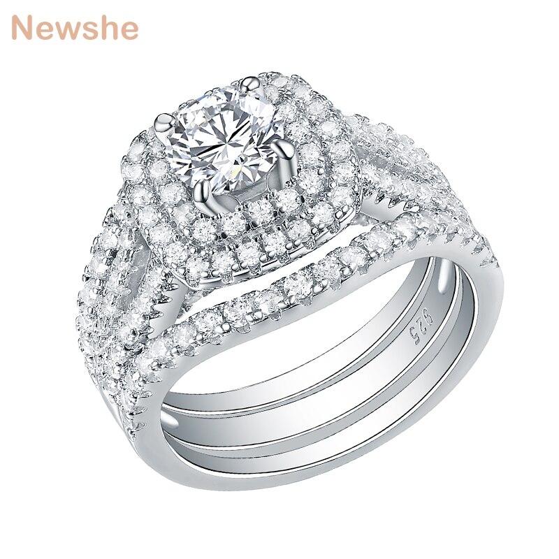 Newshe 3 pièces 925 en argent Sterling anneaux de mariage pour les femmes 2 Ct AAA CZ bleu côté pierres classique bijoux bague de fiançailles ensemble