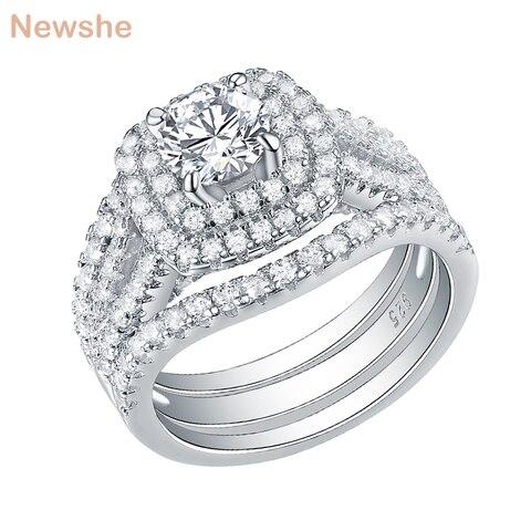 Anéis de Casamento para as Mulheres Anel de Noivado Newshe Peças Prata Esterlina 2 ct Aaa cz Azul Pedras Laterais Clássico Jóias Conjunto 3 925