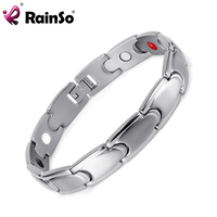 Rainso Stainless Steel Healing Magnetic Bracelet Men 4 In 1 Health Bracelet Silver Hand Chain FIR