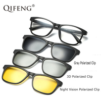 QIFENG Optical Spectacle Frame Men Women With 3 Clip On Sunglasses 3D Polarized Magnetic Glasses For Male Eyeglasses QF126