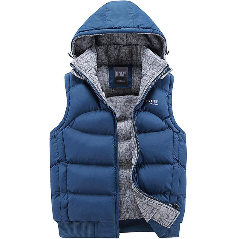 Winter Men's Sleeveless Jacket Casual Vest Men Thick Cotton Padded Jacket Hooded Coat Warm Vest Autumn Waistcoat Men Vest homme