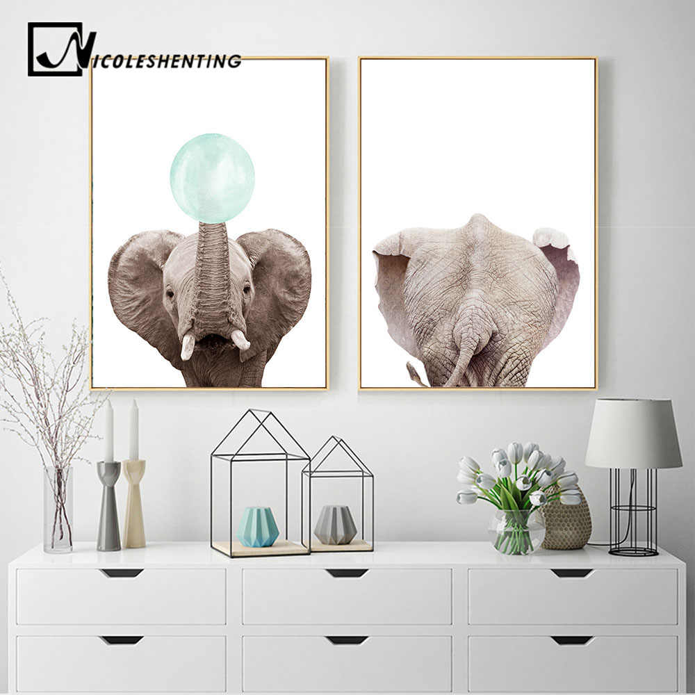 Woodland Animal Gum Bubble Canvas Poster Elephant Wall Art Nursery Print Painting Nordic Kids Decoration Pictures Room Decor