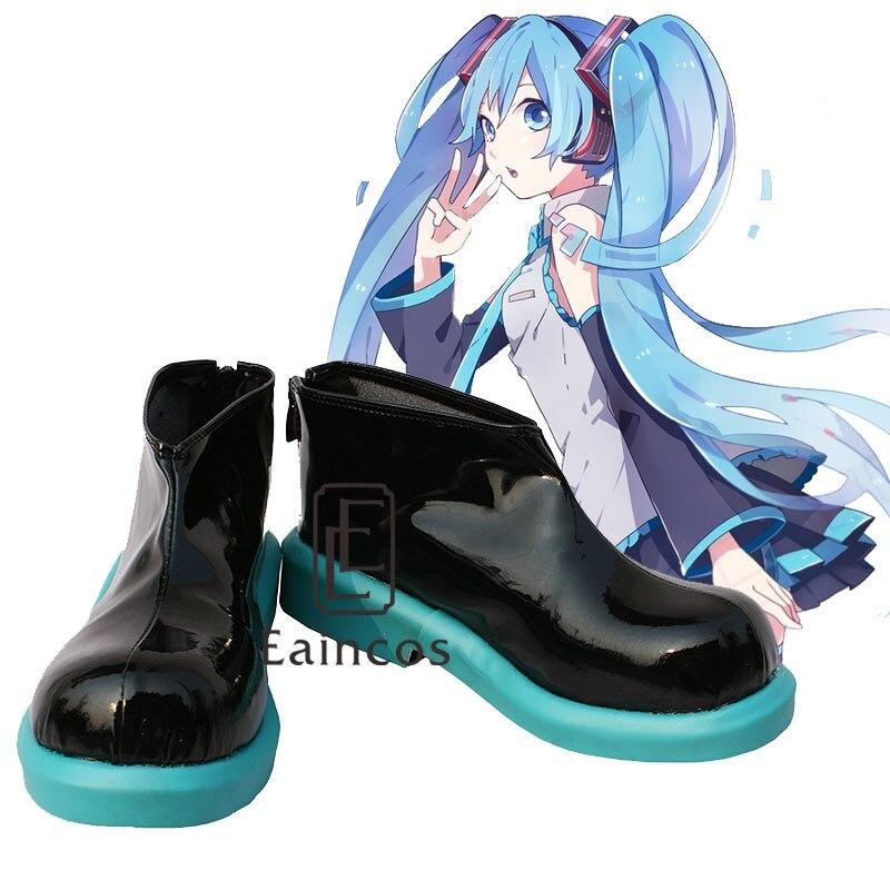 Anime Vocaloid projet Hatsune Miku bottes Cosplay Party noir chaussures sur mesure