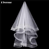 1 Layer Short White Ivory Wedding Bridal Veil Wedding Accessories Telescopic Edge