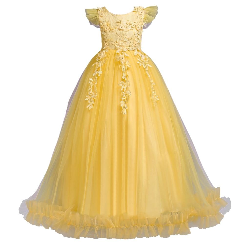 Нарядные праздничные платья принцессы для девочек Длинные без рукавов с цветочным рисунком вечерние платья Детские Свадебные детское плат...