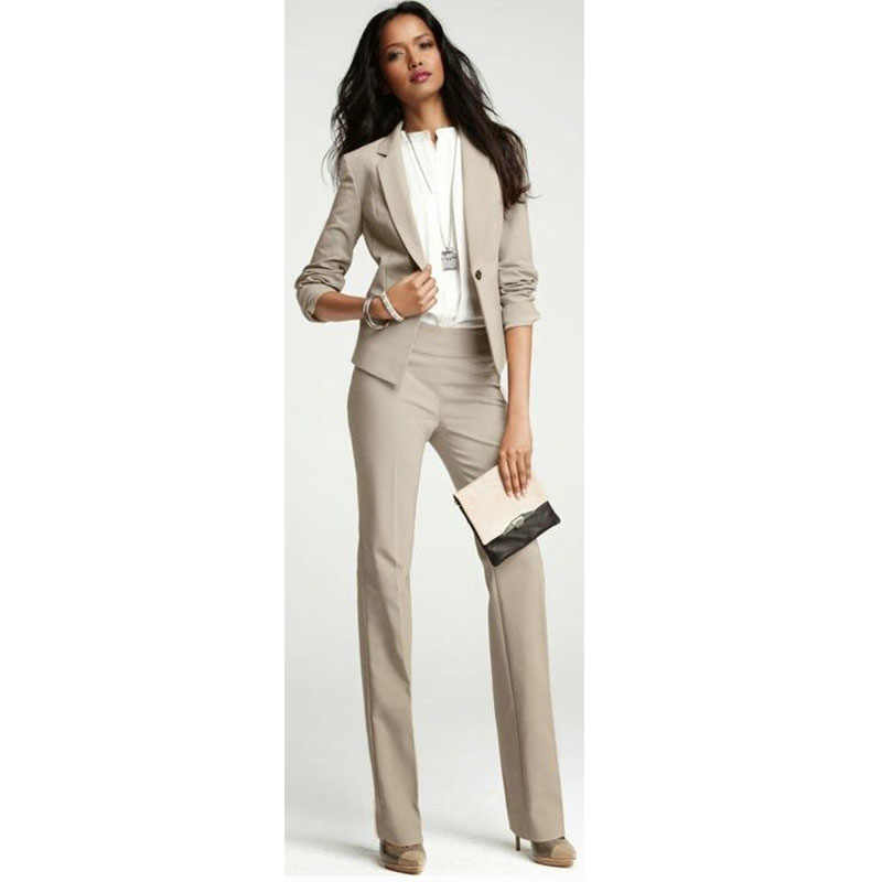 c5bcee0ace228 Light Brown 2 piece set womens business suits ladies office uniform elegant  pant suits formal female trouser suit CUSTOM