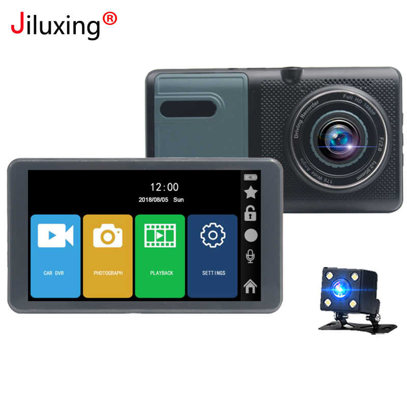 "Jiluxing 5"" FHD 1080P touch screen Car DVR for truck Two cameras Video Recorder Dash Cam Loop video car vehicle cameras"