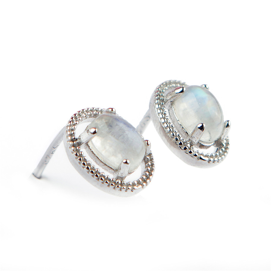 Genuine Natural Moonstone Lady Femme Charms Sterling 925 Silver Romantic Stud Earring One Pair