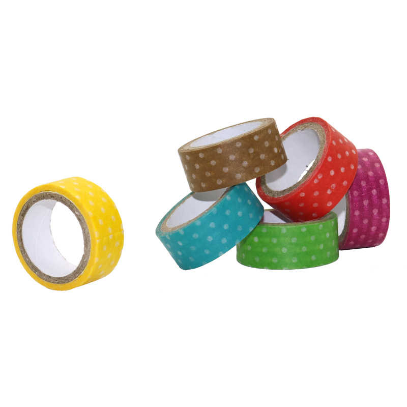 1 Pc  3m 6 Colors Polka Dots Masking Tape Washi Adhesive Stationery Decorative Cute Cartoon Scrapbooking Paper