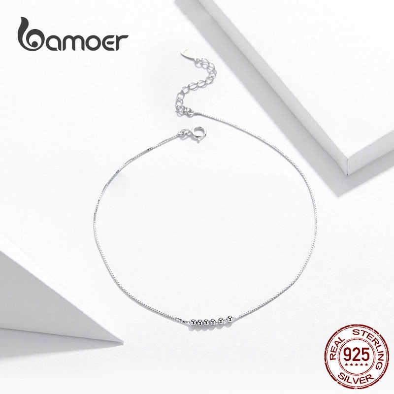 Bamoer, серебряные маленькие браслеты для женщин с бусинами, летнее Стерлинговое серебро 925, ювелирные изделия, Модный стильный браслет для ног SCT007