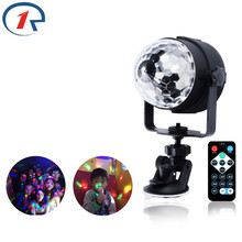 Купить с кэшбэком ZjRight IR Remote RGB LED Crystal Magic Ball lighting Rotate Stage Lamp DC USB 5V DJ light disco lights Party Effect wall Lights