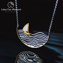 Lotus Fun Moment collar de veleros hecho a mano para mujer, joyería creativa de diseño, Plata de Ley 925 auténtica