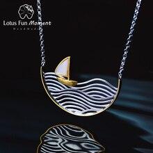 LotusสนุกMomentจริง 925 เงินสเตอร์ลิงHandmade Designerแฟชั่นเครื่องประดับเรือใบสร้อยคอผู้หญิง
