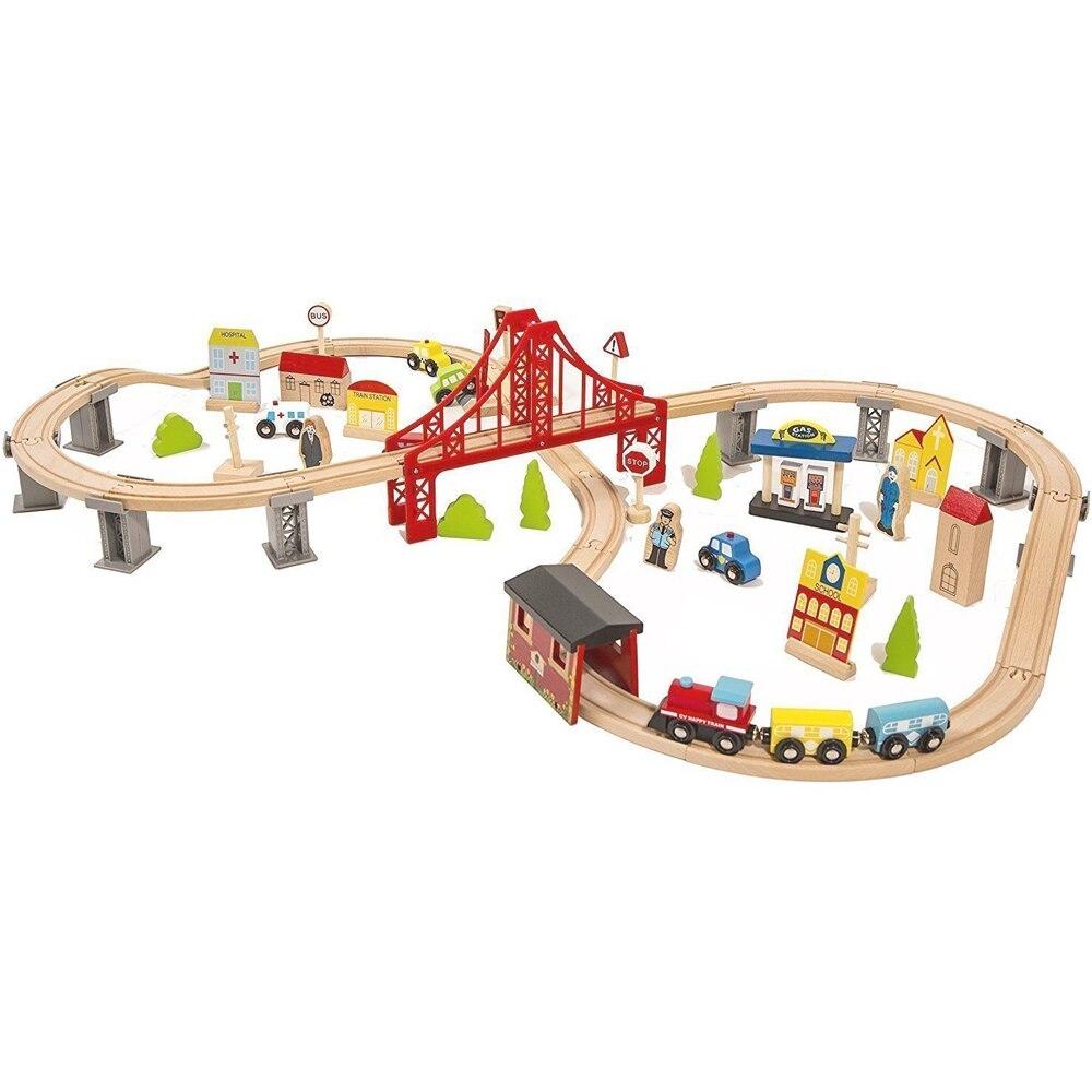 Jeu de Train de voies en bois habituelles jouets de chemin de fer magique Puzzles en bois jouets éducatifs pour l'anniversaire des enfants présent Train Set jouet