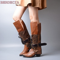 Roman new arrival color matching rivet buckle strap boots knee high lace up wedged shoes pointed toe fit women long boots