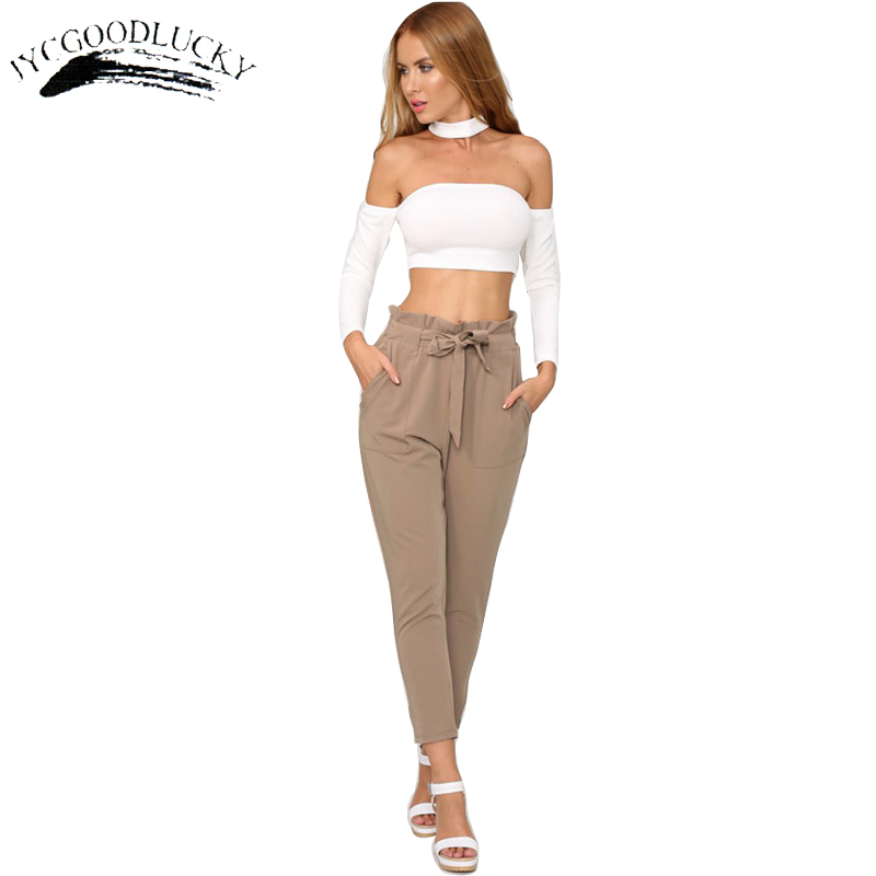 Ol Pantalones Formales Para Mujer 2017 Moda Verano Cintura Alta Con Cinturon Pantalones Mujer De Talla Grande Clohting Mujer Pantalones Aliexpress