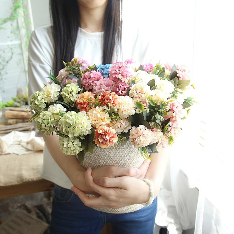 10 Heads Artificial Hydrangea Silk Flower Bouquet Home Wedding Garden Decoration