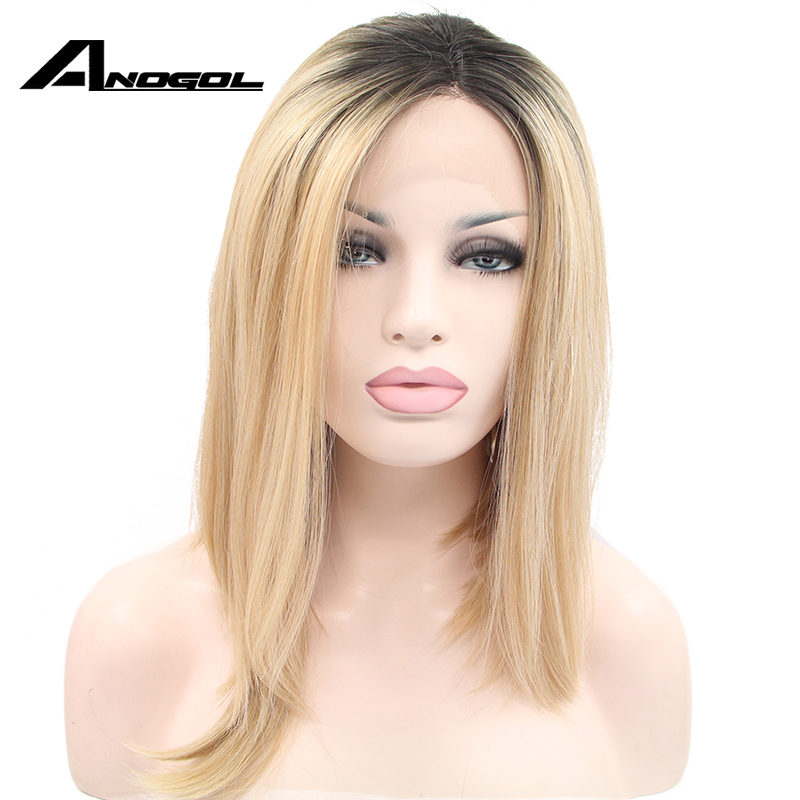 Anogol High Temperature Fiber Peruca U Part Frontal Short Straight Bob Black Ombre Blonde Synthetic Lace Front Wig For Women