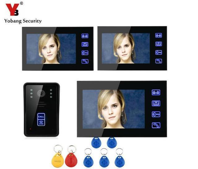 Yobang Security 7 inch video door phone door intercom wired Door Monitor RFID Security Entry Door intercom interphone visiophone