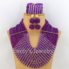 Purple Nigerian Wedding African Beads Jewelry Set 12 Rows Crystal Beads Jewelry Set African Costume Jewelry Free Shipping AJS340