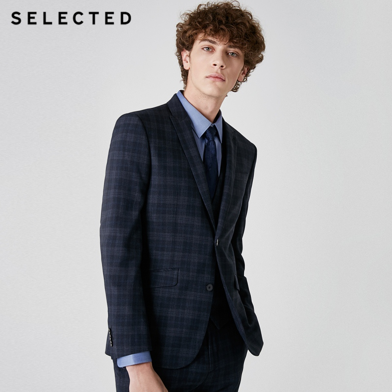 SELECTED Men's Dark Plaid Closure Collar Blazer Slim-fit Business Jacket Clothes T | 41915X503