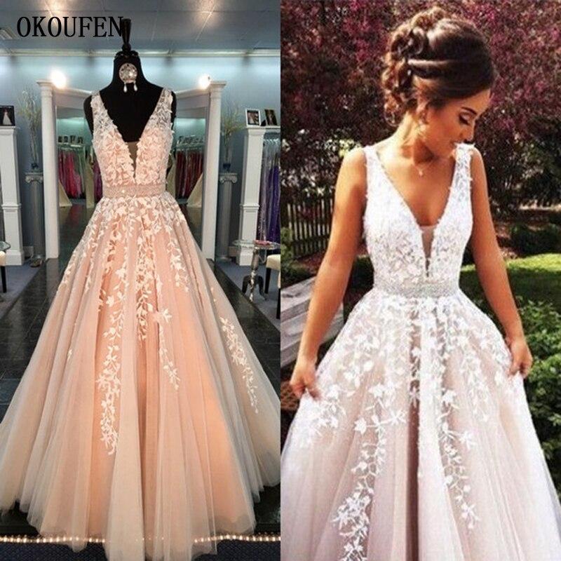 Hot Sale   Prom     Dresses   2019 V-Neck Tulle Sexy Formal Evening Party Ball Gowns vestidos de fiesta Sash Appliques gala jurken Blush