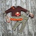 Детские девушки Благодарения одежда девушки благодарения партии костюмы дети бутик одежды с leapord брюки с accessoreis