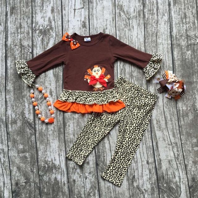 Niñas bebés ropa niñas trajes de fiesta de acción de gracias Acción de Gracias los niños boutique de ropa con leapord pantalón con accessoreis