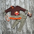 baby girls Thanksgiving clothing girls thanksgiving party outfits children boutique clothing  with leapord pant with accessoreis