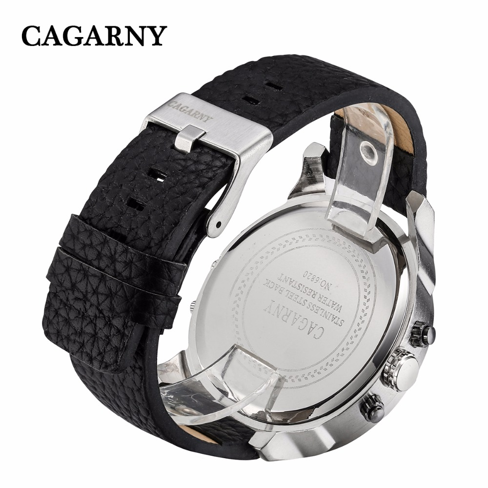 2019 drop shipping top luxury brand cagarny mens watches leather strap big case gold black silver dz military Relogio Masculino male clock man hour (22)