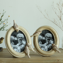 The European and American country creative bird 6 inch table retro photo frame frame Home Furnishing decoration decoration