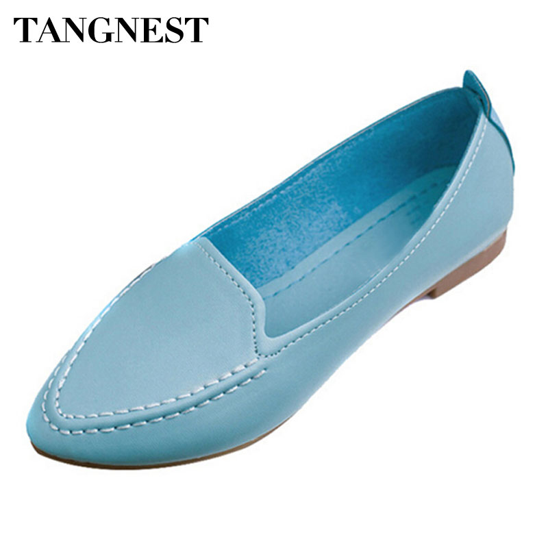 Tangnest Women Flats 2017 Summer Style Casual Pointed Toe Slip-On Flat Shoes Soft Comfortable Shoes Woman Plus Size 35-40 XWC267 pu pointed toe flats with eyelet strap