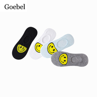 Goebel Ladies Cotton Boat Socks Cartoon Smiley Girls Short Socks Comfortable Shallow Mouth Woman Invisible Socks