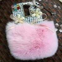 3D Rhinestone Fur Hotfix Phone Case For Xiaomi Mi4S Mi 4S Jewelry Half Bunny Rabbit Fur