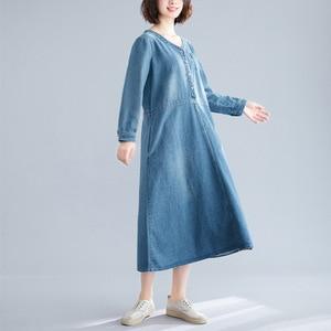 Image 5 - Johnature Autumn Korean Solid Color Patchwork Pockets V neck Cotton Jean Dress 2020 New Casual Vintage Long Sleeve Women Dresses