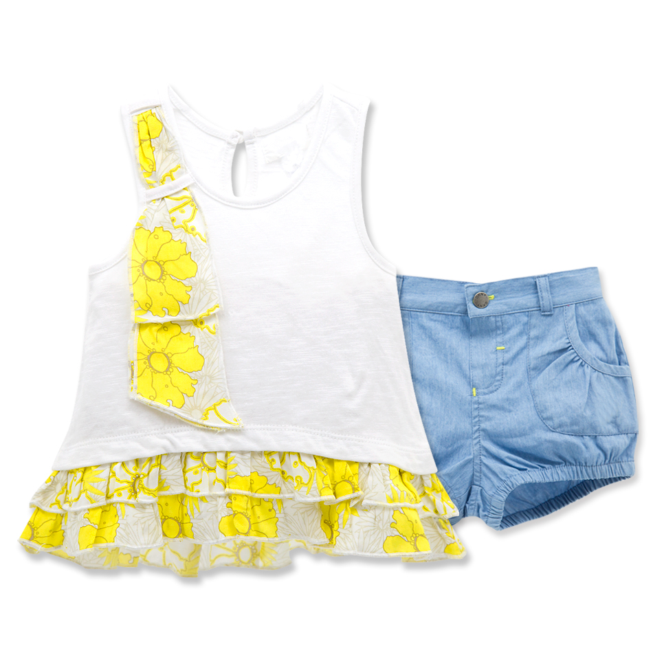 Cute baby girl clothes summer 2pcs set cotton t shirt and
