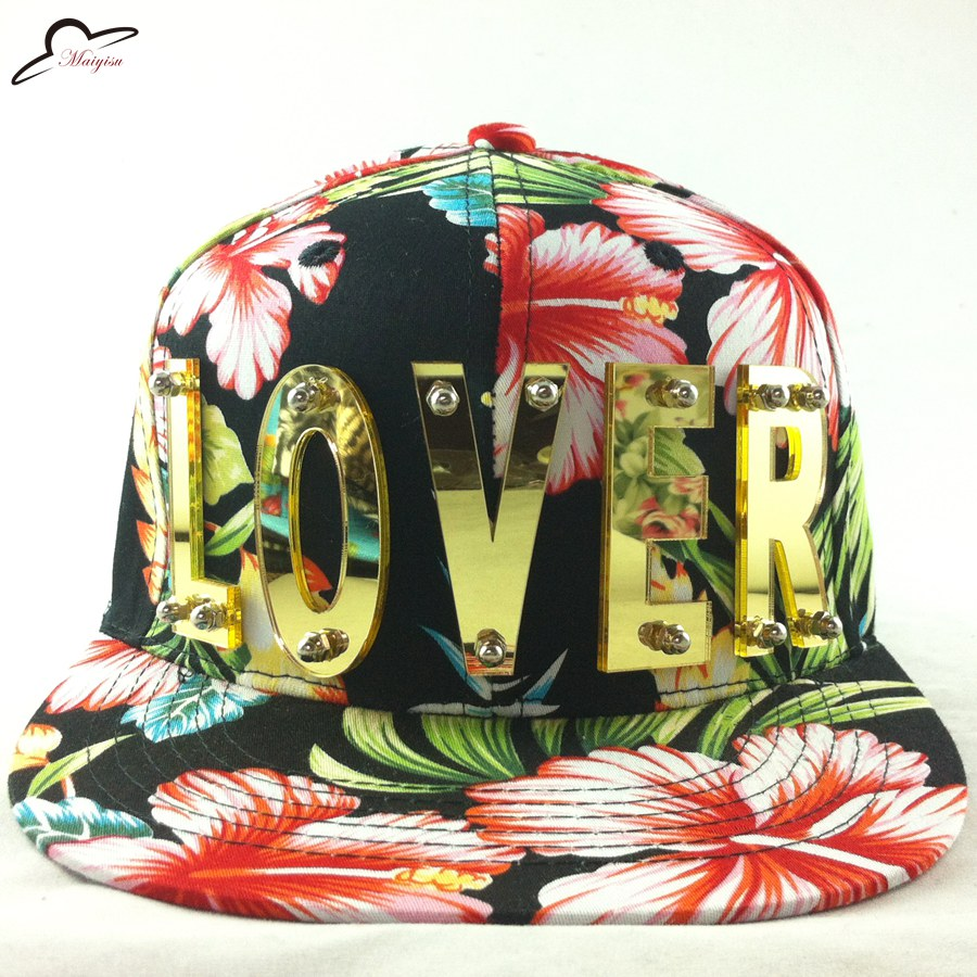 3D acrylic letters Bolted spikes rivets HipHop Hat Lover Floral - Apparel Accessories