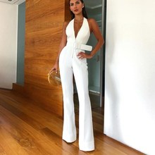 2019 Elegant Women Office White Casual Jumpsuit Sexy V Neck Sleeveless Rompers Belted Backless Long Overalls