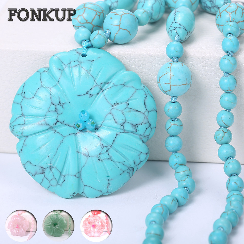 Forkup Blue Turquoise Necklace Flower Pendant Women Choker Bead Chain Jewelry Popular Femme Accessories Rose Quartz Ornaments alloy rose flower pendant necklace