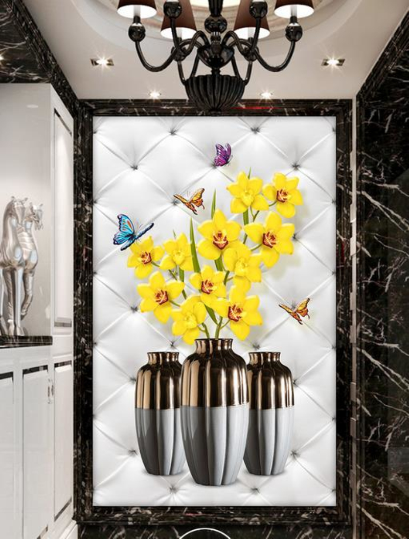 Modern Art 3D stereo Photo Wallpaper Flower Vase Mural Painting Living Room Bedroom Door Entrance Backdrop Custom Wall Paper custom photo wallpaper luxury 3d stereoscopic vase entrance corridor aisle backdrop wall decoration painting mural de parede 3d
